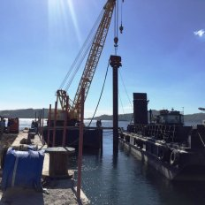 Pile Driving Works using Crane Barge with Hyydrauilc Vibratory Hammer
