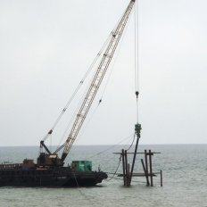 Pile Driving Works using Hydraulic Impact Hammer and Crane Barge