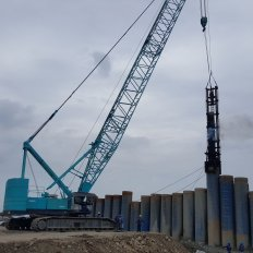 Pile Driving Works using Diesel Hammer