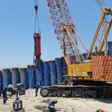 Pile Driving Works using Hydraulic Impact Hammer