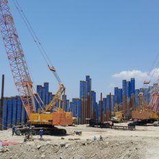 Pile Driving Works using  Hydraulic Vibratory Hammer